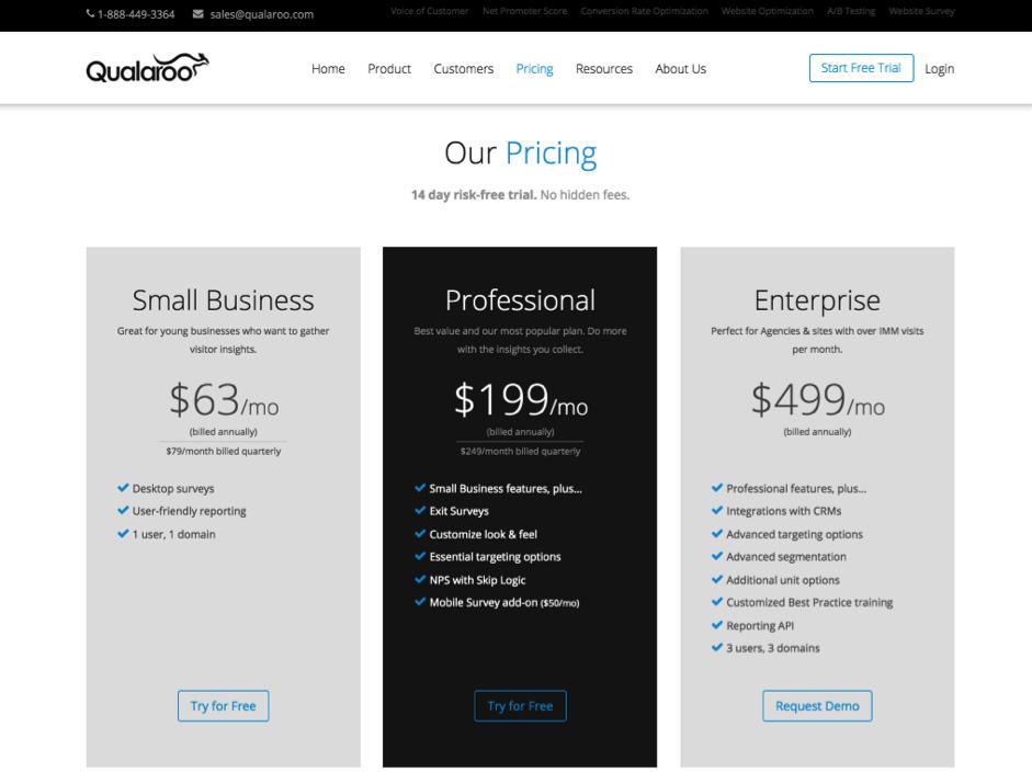 qualaroo-pricing-page