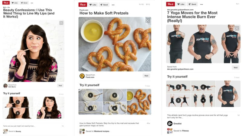 Pinterest внедрил новый формат пинов – пины-инструкции