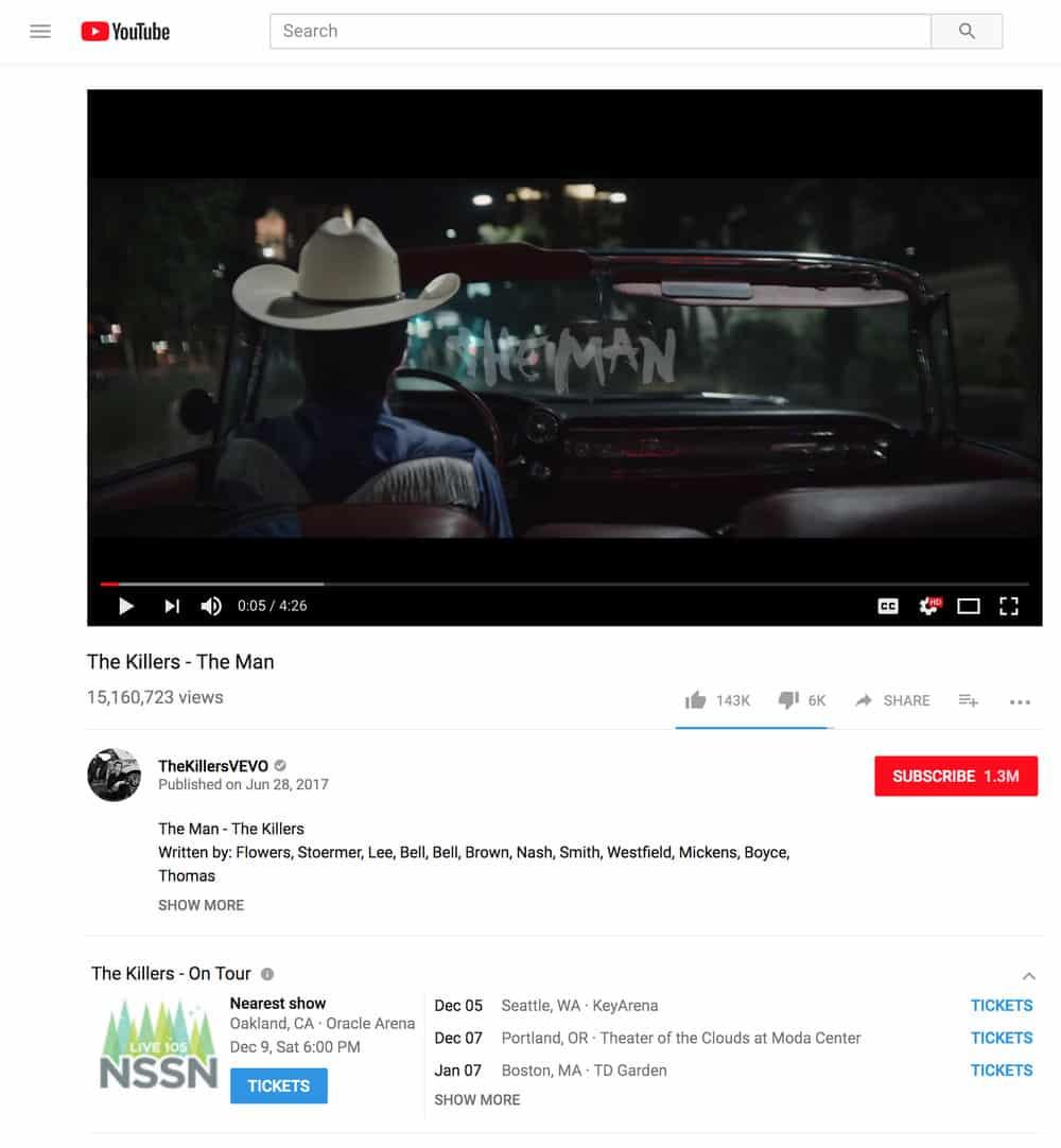 Ticketmaster, YouTube