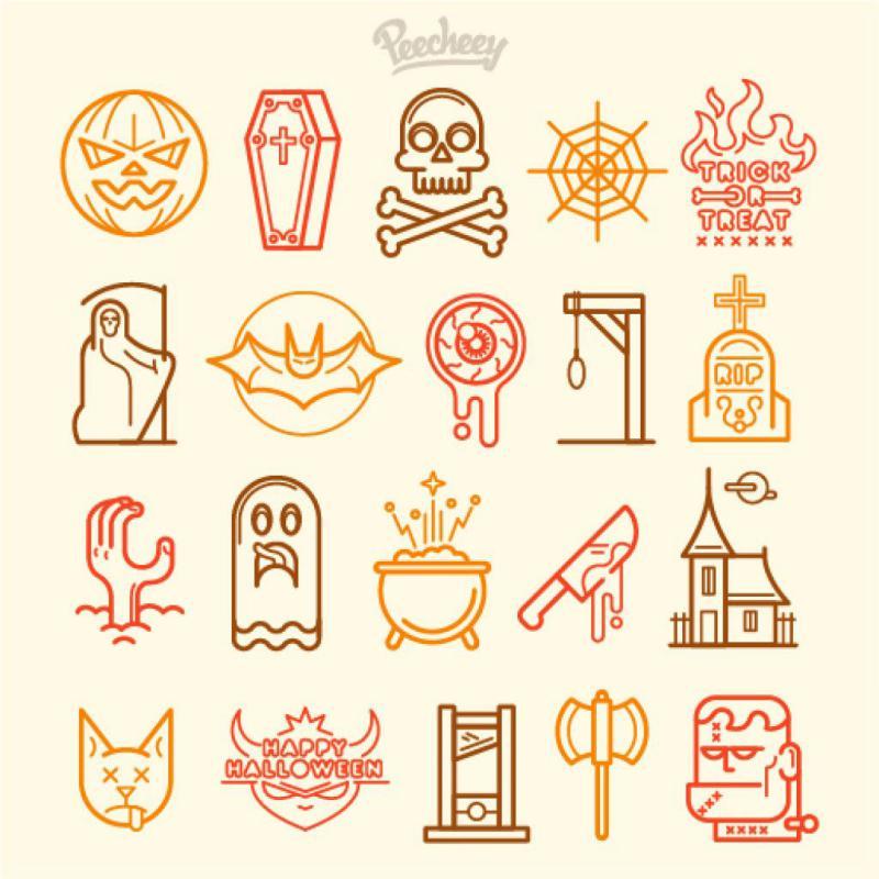 31 Halloween-icon-set-line-design