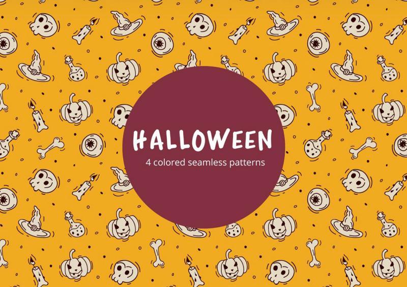 32 Halloween-Vector-Free-Seamless-Pattern