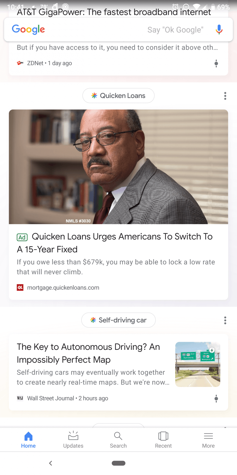 Google тестирует рекламу в ленте Discover