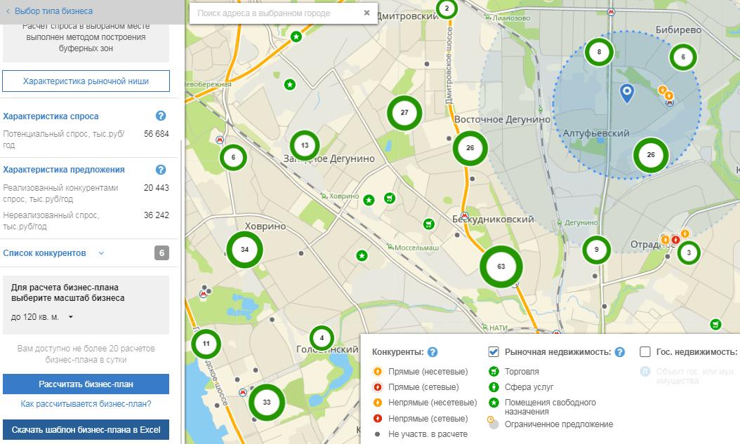 Интерактивный выбор города, района, вида компаний на карте