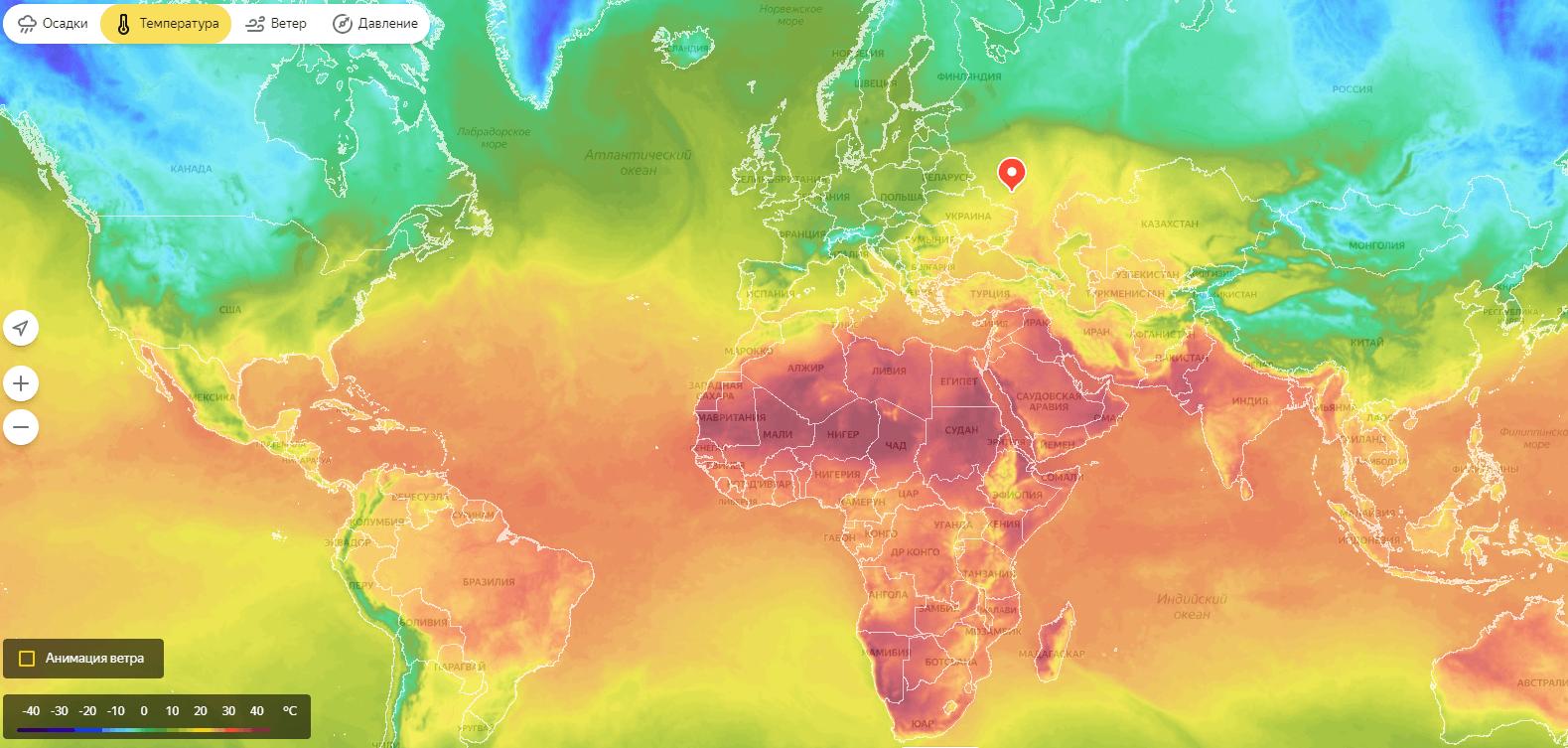 Пример карты температур.